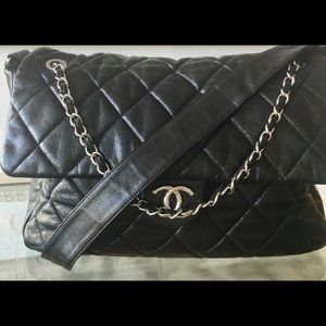 Chanel Glazed Caviar Large Nature Flap Bag